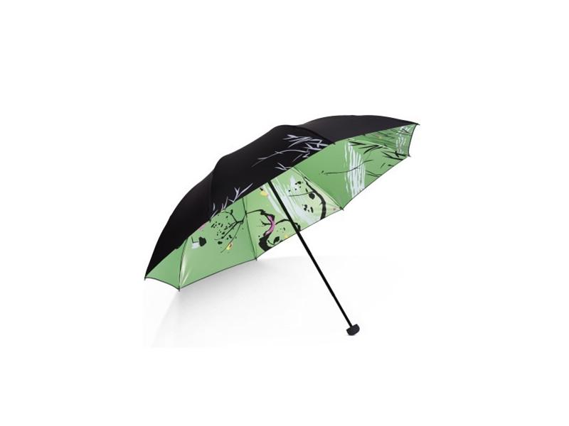 全遮光丝光绒彩胶三折晴雨伞